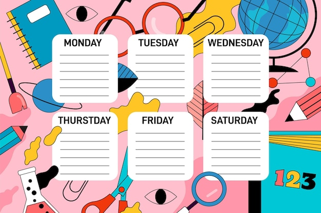 Flat design back to school timetable