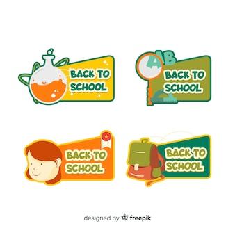 Плоский дизайн обратно в коллекцию школьных значков