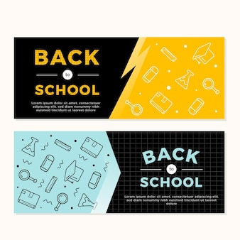 Плоский дизайн обратно в школу шаблон баннеров