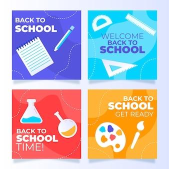 Плоский дизайн обратно в школьную коллекцию постов instagram
