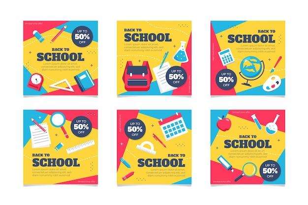 Плоский дизайн обратно в школу сообщений instagram