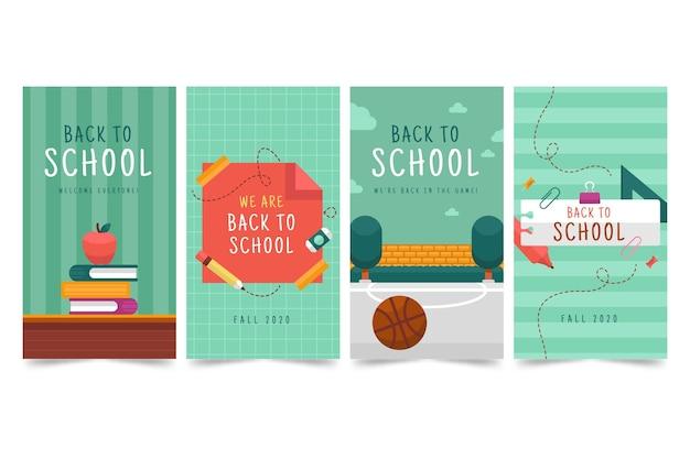 Плоский дизайн обратно в школьные истории instagram