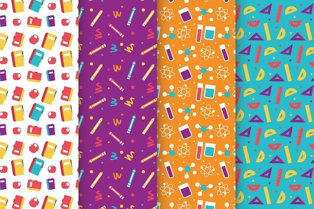 학교 패턴 컬렉션으로 돌아가는 평면 디자인