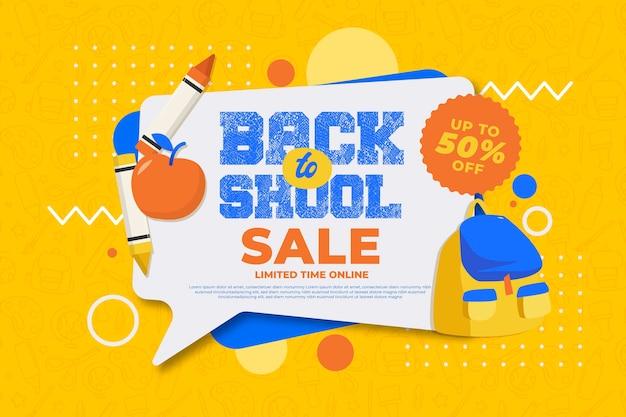 Плоский дизайн обратно в школу продаж