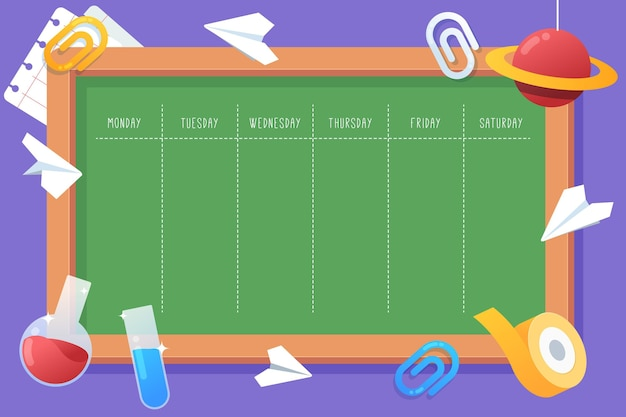 学校のスケジュールに戻るフラットなデザイン