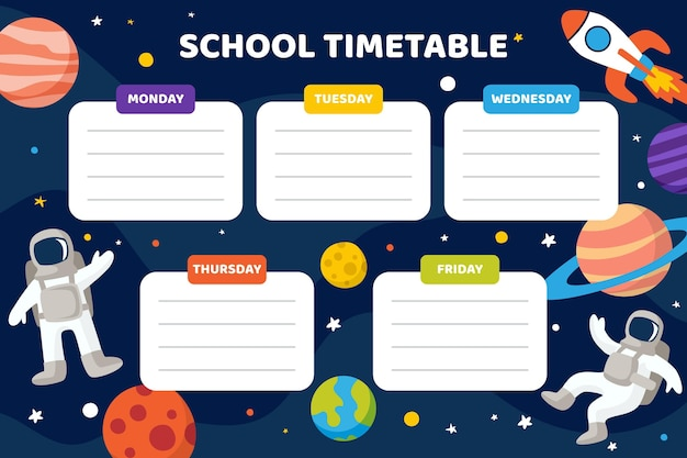 우주와 함께 학교 시간표로 돌아가는 평면 디자인