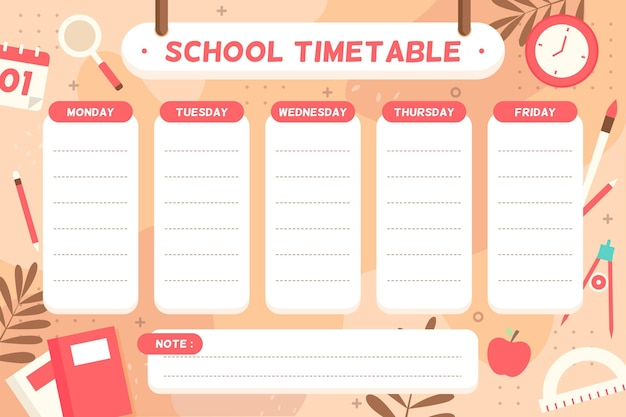学校の時間割に戻るフラットなデザイン