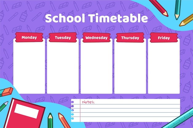 학교 시간표로 돌아가는 평평한 디자인