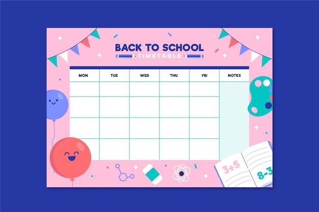 학교 시간표로 돌아가는 평면 디자인