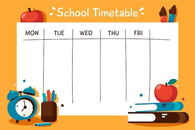 학교 시간표를 다시 평면 디자인