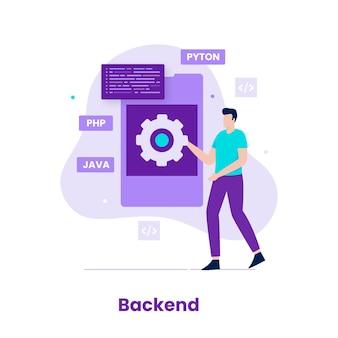 개발자 개념의 평면 디자인 백엔드입니다. 웹사이트, 방문 페이지, 모바일 애플리케이션, 포스터 및 배너용 일러스트레이션
