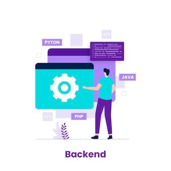 開発者の概念のフラットなデザインのバックエンド。ウェブサイト、ランディングページ、モバイルアプリケーション、ポスター、バナーのイラスト
