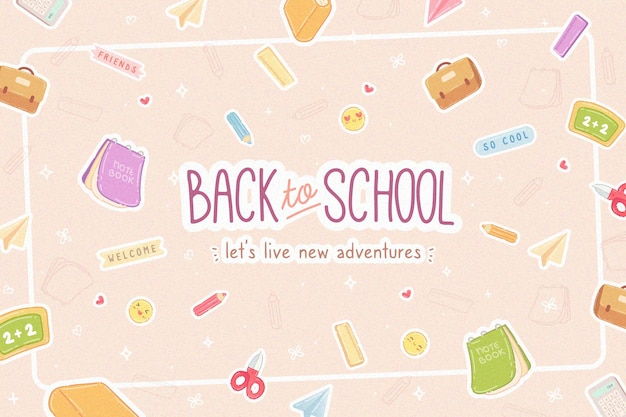 Flat design background back to school