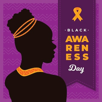 Flat design background black awareness day