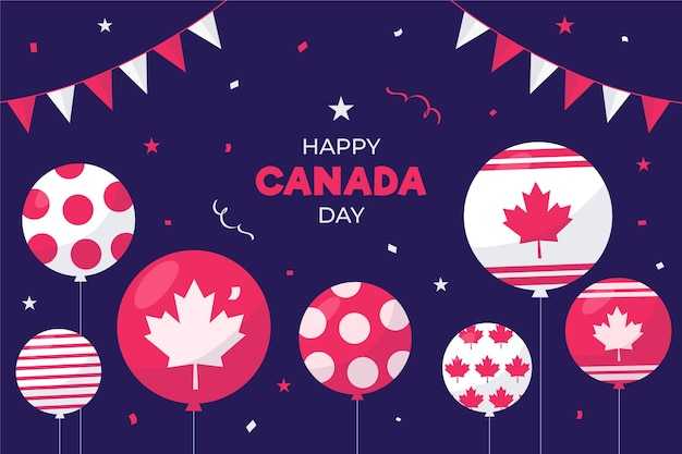 Flat design background canada day balloons