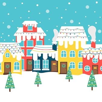 Flat design background christmas town