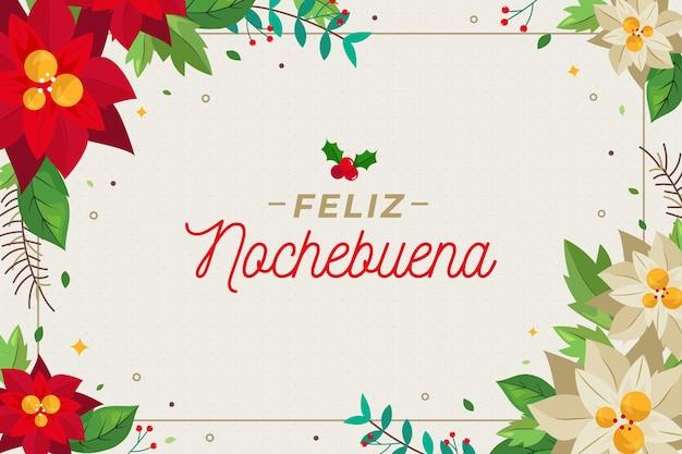 Плоский дизайн фона feliz nochebuena с цветами