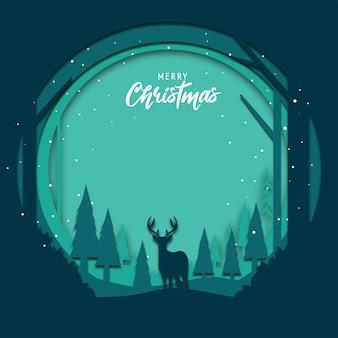 ペーパーカットアートとクリスマスのフラットなデザインの背景