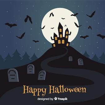 Flat design background for halloween