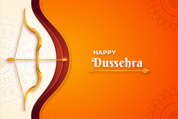 Flat design background happy dussehra with arrow and bow