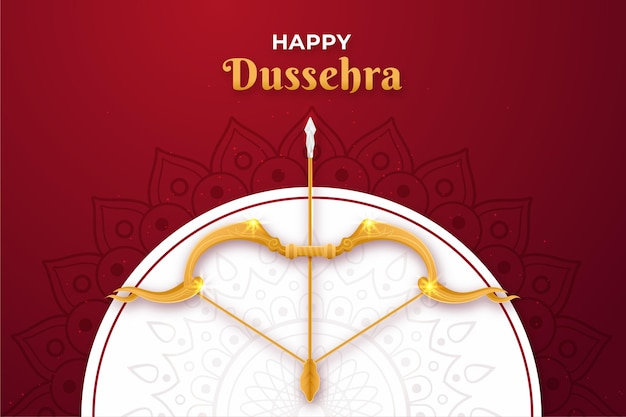 Flat design background happy dussehra with bow and arrow