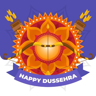 Flat design background happy dussehra with quivers