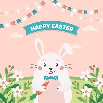 Flat design backgroundhappy easter day