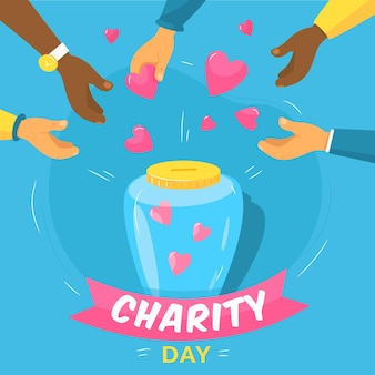 Design piatto sfondo giornata internazionale della beneficenza
