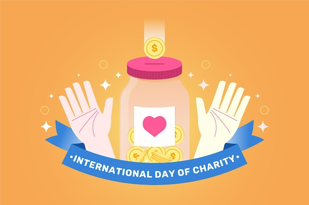 Flat design background international day of charity