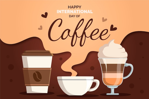 コーヒーのフラットなデザイン背景国際デー