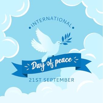 フラットなデザインの背景国際平和デー