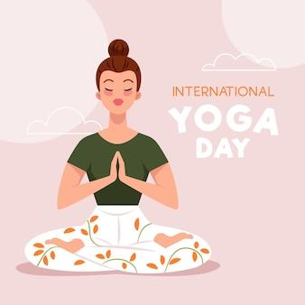 Плоский дизайн фона международный день йоги