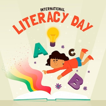Flat design background international literacy day