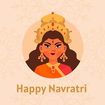 女神とフラットなデザインの背景ナヴラトリ