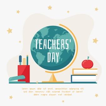 地球とフラットなデザイン背景教師の日