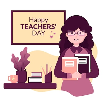 女性とnotenooksとフラットデザイン背景教師の日