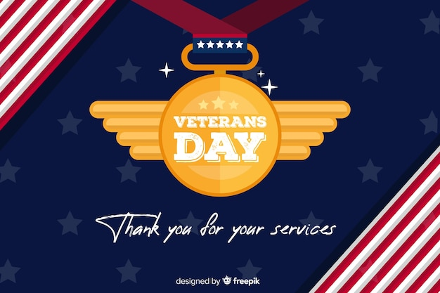 Flat design background veterans day