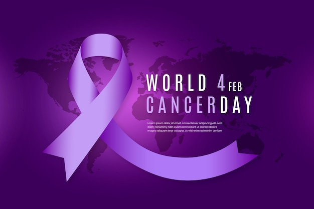 Flat design background world cancer day with ribbon