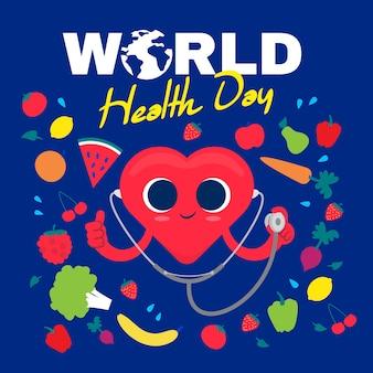 Flat design background world health day