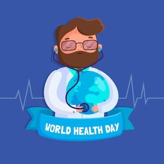 Плоский дизайн фона всемирный день здоровья