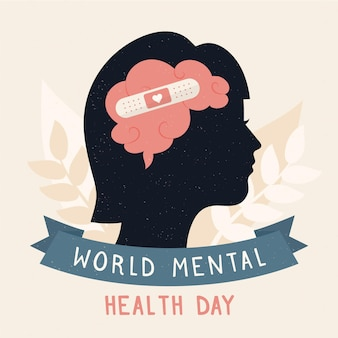 Flat design background world mental health day with brain and band-aid