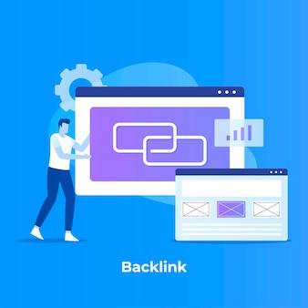 Flat design of backlink illustration
