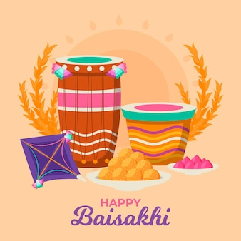 Illustrazione di baisakhi design piatto