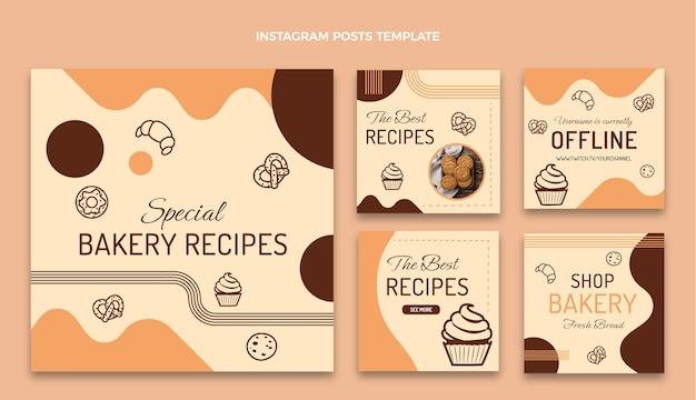 フラットデザインのパン屋のレシピinstagramの投稿