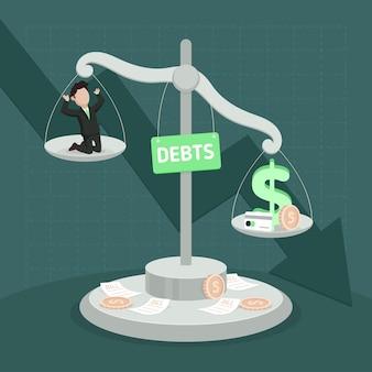 Плоский дизайн концепции банкротства с человеком и масштабом