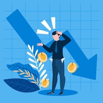 Плоский дизайн концепция банкротства