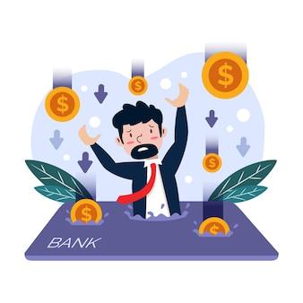 Flat design bankruptcy illustration concept