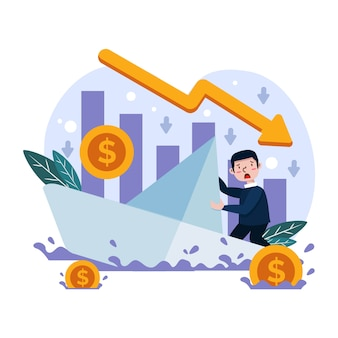 Flat design bankruptcy illustration design