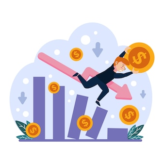 Flat design bankruptcy illustration theme