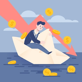 Flat design bankruptcy illustration with sad man